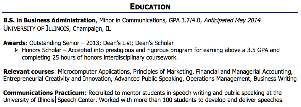 education sample - Education Part Of Resume Sample