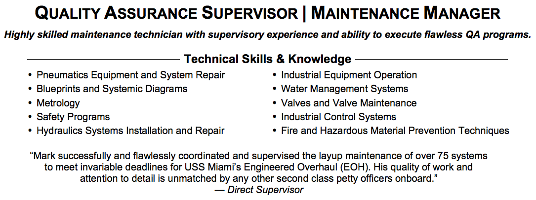 QA Supervisor Summary  What To Write In Skills Section Of Resume
